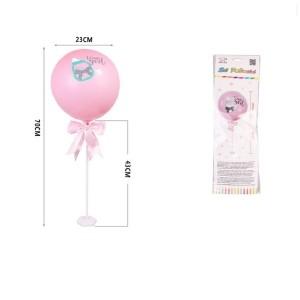 Balon s stojalom v roza barvi  s potiskom  70cm