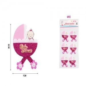 Dekoracija za baby shower roza 7x9cm