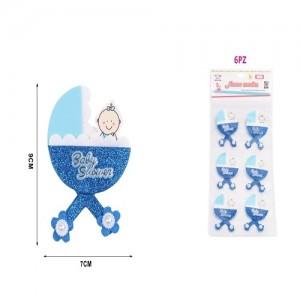 Dekoracija za baby shower modra 7x9cm