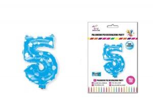 Balon z vzorci številka 5-Modra s srčki-S