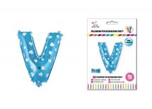Balon z vzorci črka V-40 cm-Modra s srčki