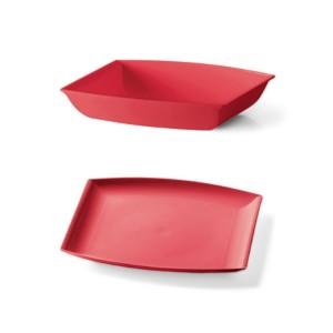 Plastični krožnik 6/1 rdeča