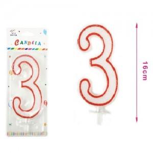 Sveča belo-rdeča številka 3 16cm