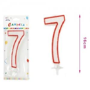 Sveča belo-rdeča številka 7 16cm