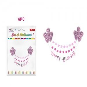 Baloni z roza krogci 6/1+napis happy birthday