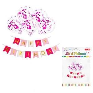 Baloni s fuksija krogci 5/1 +napis happy birthday