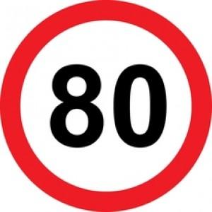 Rojstnodnevna nalepka prometni znak 80 let