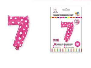 Balon z vzorci številka 7-Roza s srčki-S