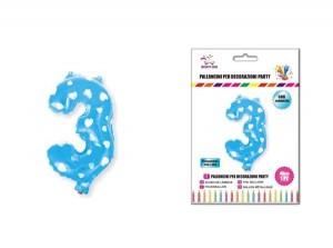 Balon z vzorci številka 3-Modra s srčki-100cm