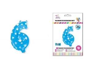 Balon z vzorci številka 6-Modra s srčki-M