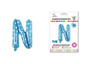 Balon z vzorci črka N-40 cm-Modra s srčki